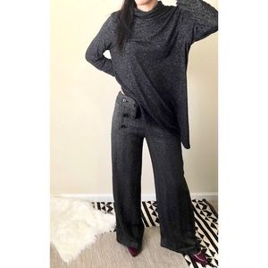 Max Studio Gray Tweed Button Wide Leg Trousers